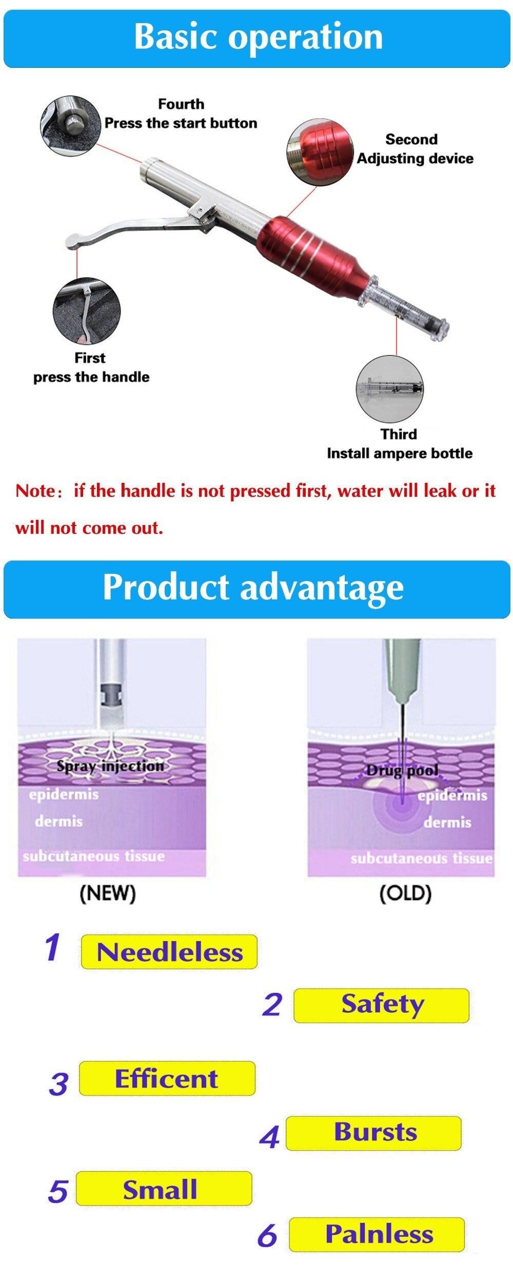 1 conjunto hyaluron caneta seringa conversor mesotherapy
