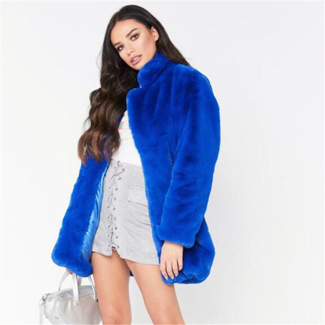 Faux Fur Coat Women Long Sleeve Warm Medium length Solid color Jacket Plus Size Winter Fur Coat Cardigan Rabbit Fur OutwearAS911