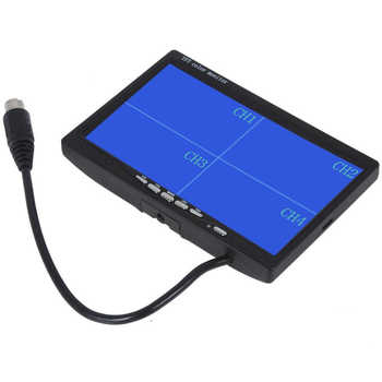 """Podofo 7\"""" Split Quad Monitor TFT LCD Monitor Video Input PC Audio Video Display Front Rear Side View Camera Display Car-styling"""