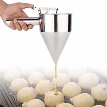 Massa de aço inoxidável panqueca bola dispenser bolo cupcake dispensador de massa funil casa takoyaki máquina panqueca creme ferramenta