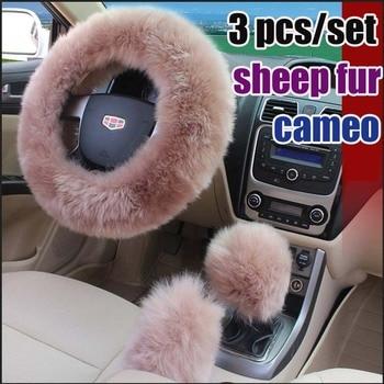 Protector para volante de coche 100%, cubierta de volante de lana pura, conjuntos de invierno para volante de cuero con pelo largo para mujer