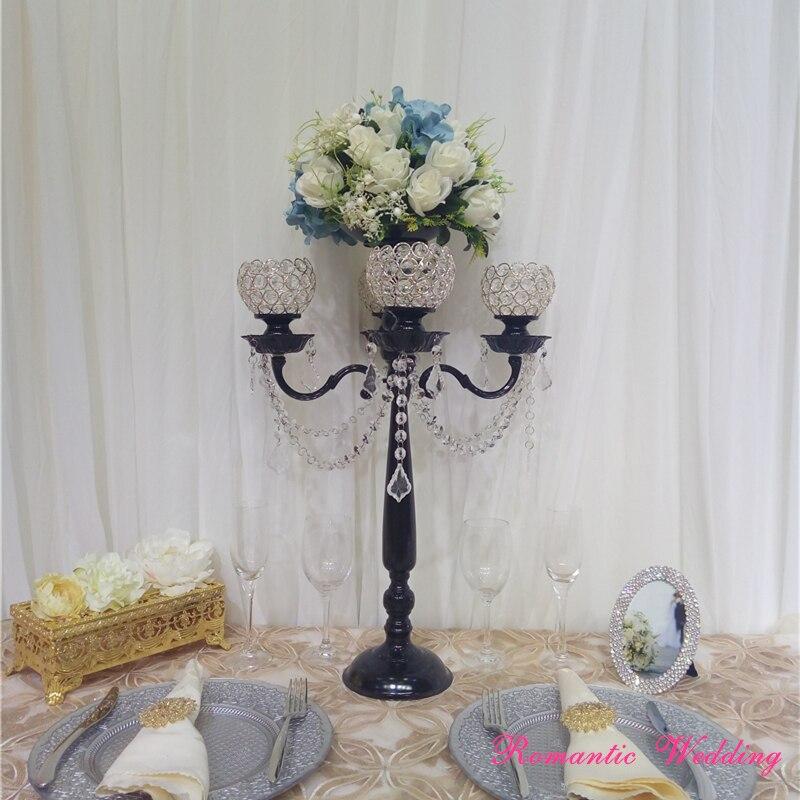 4 шт./лот на продажу свадебное канделябр с черным цветком Чаша Кристалл Подсвечники Для Свадьбы вечерние украшения событие