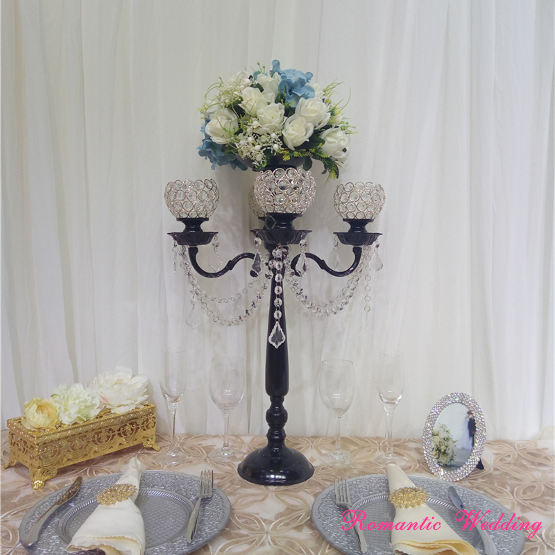 4pcs/lot On Sale Wedding Candelabrum with Black Flower Bowl Crystal Crystal Candle holders for Wedding party event decoration