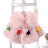 Infant Newborn Baby Girls Clothes Faux Fur Collar Pink Coat Autumn Winter Princess Birthday Party Jacket Baby Coats and Jackets