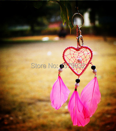 New fashion originality  Hot pink Feather pearl Dreamcatcher Wind Chimes Indian Style Pendant Dream Catcher key ring Gift