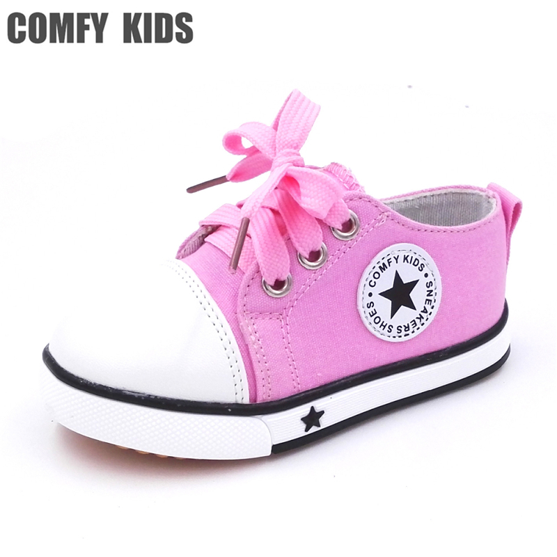 Size 21-25 Comfy Kids Child Sneakers Canvas Shoes For Baby Toddlers Shoes Soft Bottom Cow Sole Child Baby Girls Sneakers Canvas