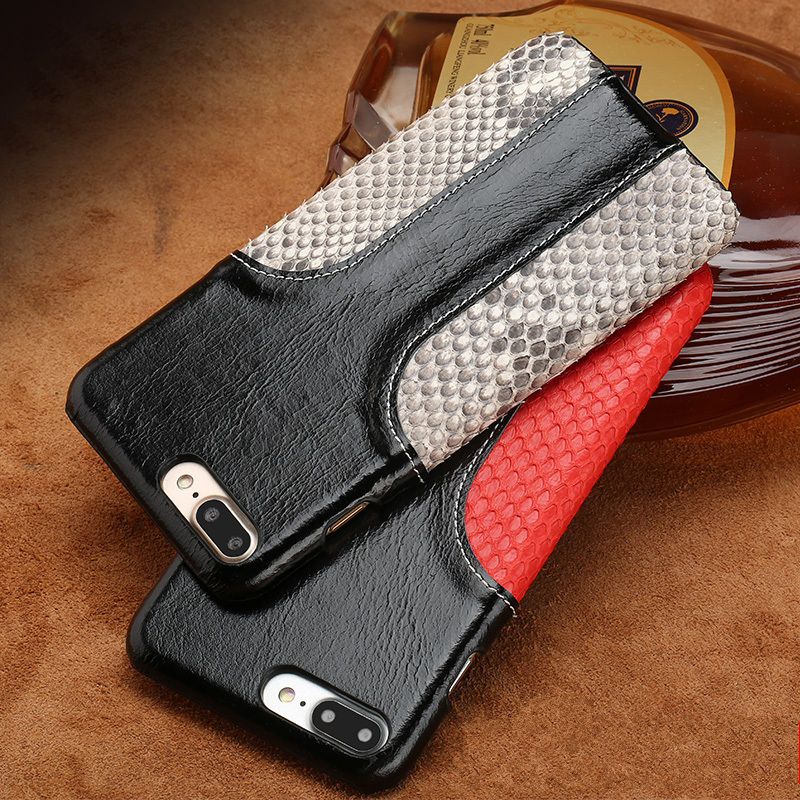 Wangcangli phone case snake skin fight wax leather back cover for iphone X case all hand-made custom processingWangcangli phone case snake skin fight wax leather back cover for iphone X case all hand-made custom processing