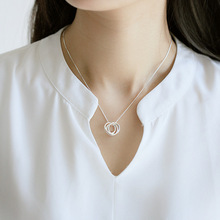 Tri-cyclic Love Simple Clavicle Chain Pendant Necklace For Women