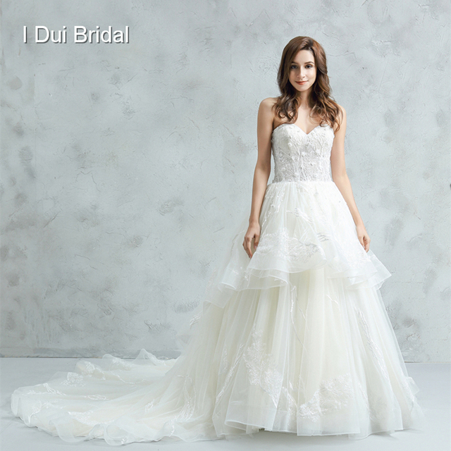Sweetheart Ball Gown Wedding Dress 3D Flower Unique Lace Tiered ...