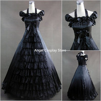 Ladies Victorian Lolita Gothic Palace Princess Lace Sleeveless Longuette Fashion Party Dress Cosplay Costume Costom MakeAny Size