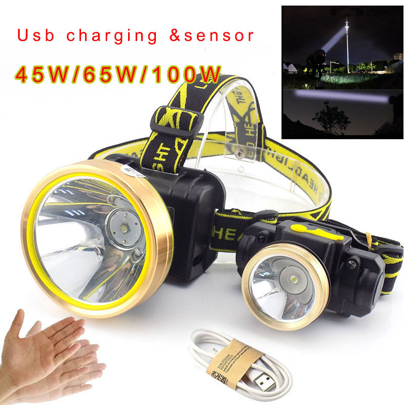 Mini LED USB Headlamp Rechargeable Body Motion Sensor Headlamps Waterproof Powerful Flashlight Head Torch Outdoor Lamp Light