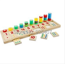 Genuine professional early childhood teaching on several wooden educational toys calculate the level of digital plates mathemati