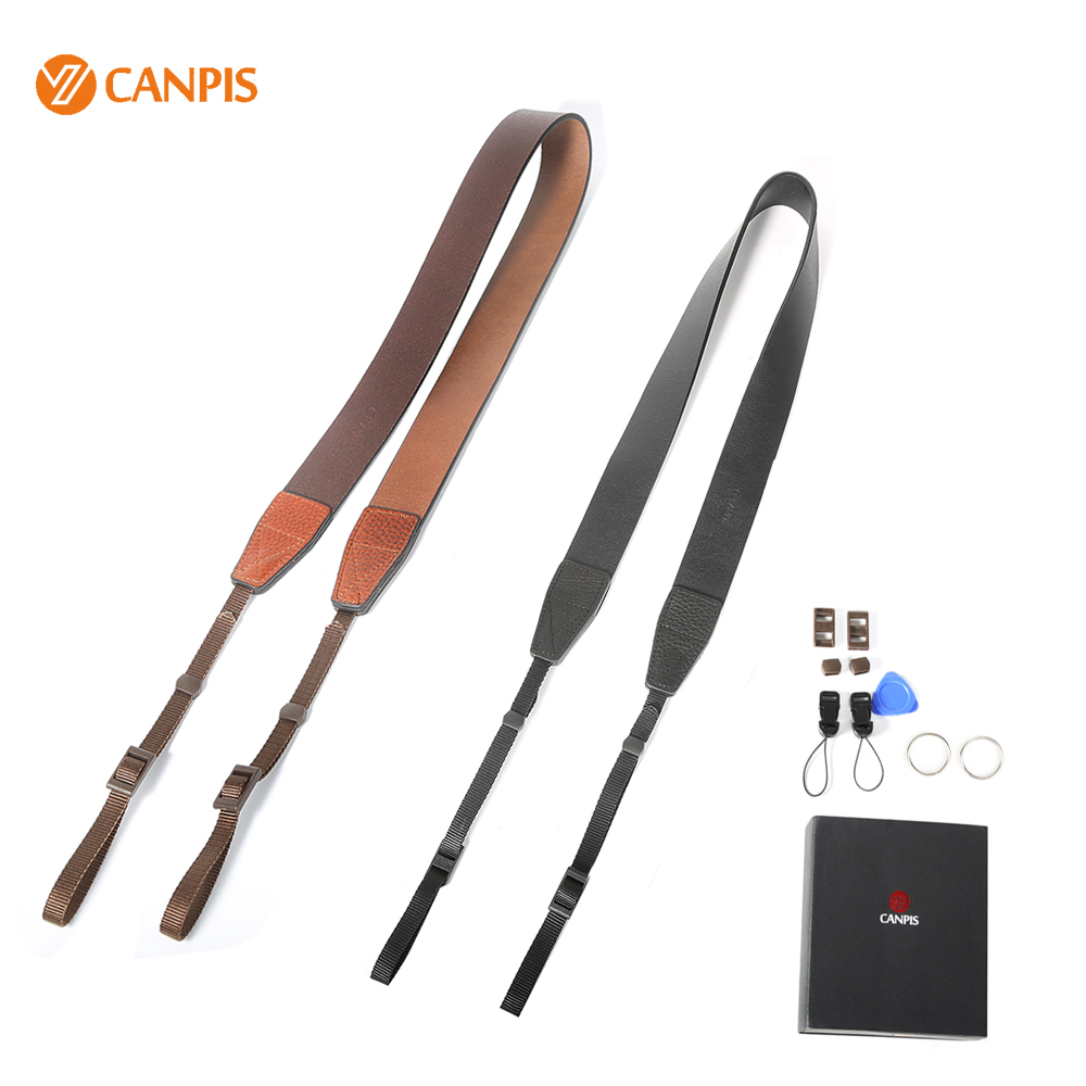 New Thicker Version CANPIS Adjustable Universal Brown and Black Leather Strap with Shoulder Neck Support for DSLR Micro Camera