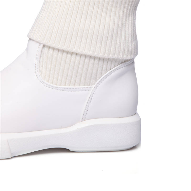 Image 3 - MORAZORA 2020 large size 34 43 round toe short plush autumn winter shoes woman slip on solid color ankle boots form women white-in Ankle Boots from Shoes