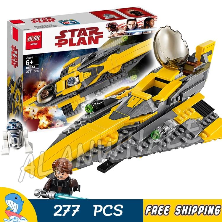 277 piezas Space Wars de Jedi Anakin Skywalker Starfighter R2-D2 Droid 05144 modelo bloques de construcción juguetes Compatible con ladrillos Lego