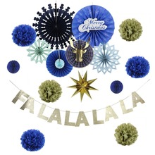 Christmas Decorations for Home Gold Glitter Letters FA LA LABanner Paper Hanging Star Pom Flower Xmas Tree Decor