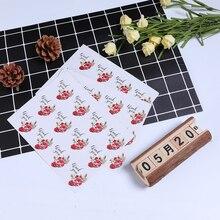 120pcs/lot Round Thank you Rose Flower Adhesive Baking Seal label Handmade Gift sticker