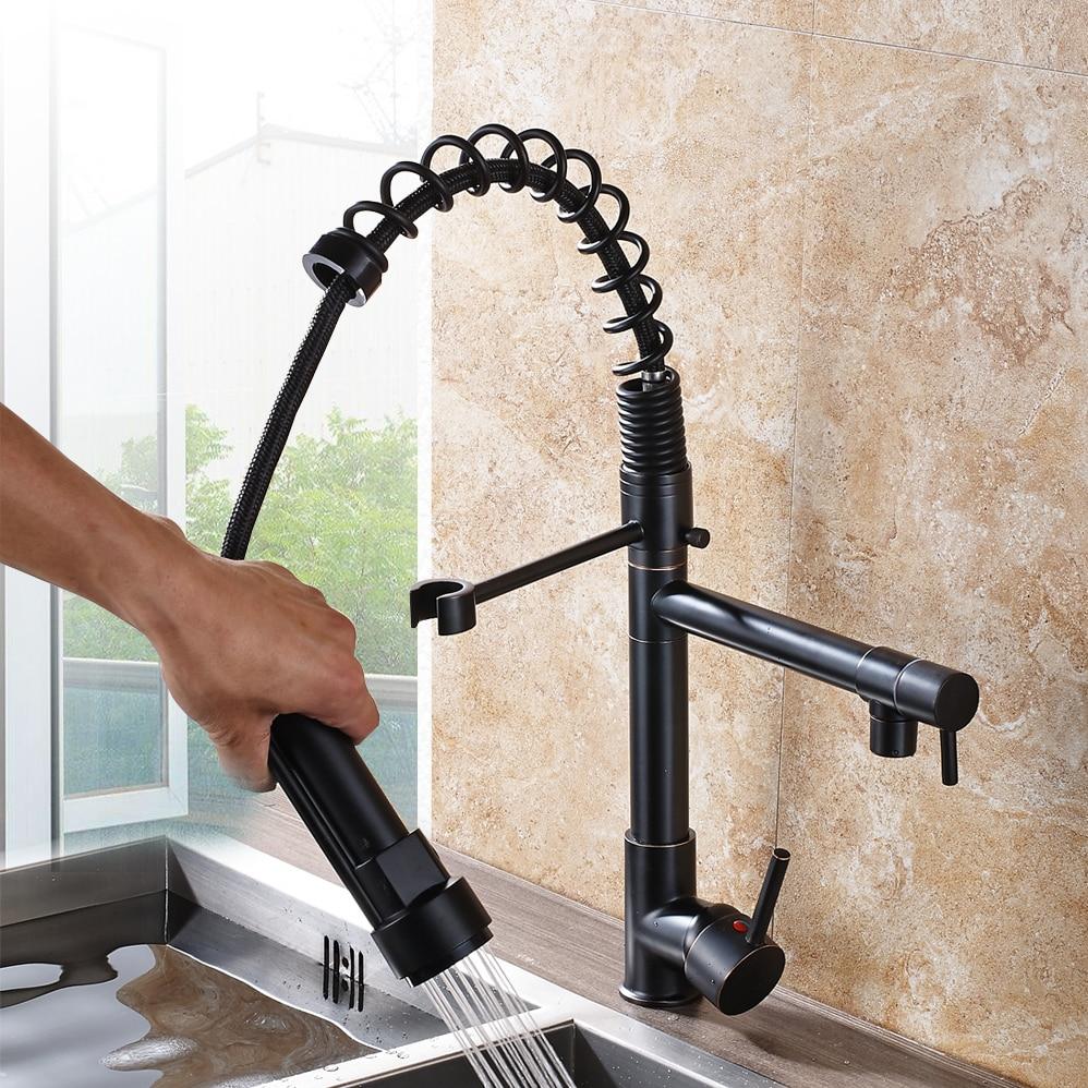 Chrome-Spring-Pull-Down-Kitchen-Faucet-Dual-Spouts-360-Swivel-Handheld-Shower-Kitchen-Mixer-Crane-Hot