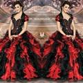 2017 New Elegant Red Black Quinceanera dresses Sweetheart Beaded Ruffles With Jacket Sweet 16 Dresses Vestidos De 15 Anos QA1167