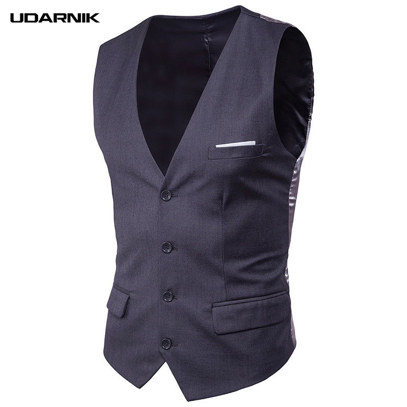 Mens Slim Fit Business Gilet Vest V-Neck Sleeveless Jacket Formal Wedding Waistcoat Top Solid 5 Colors 903-A662