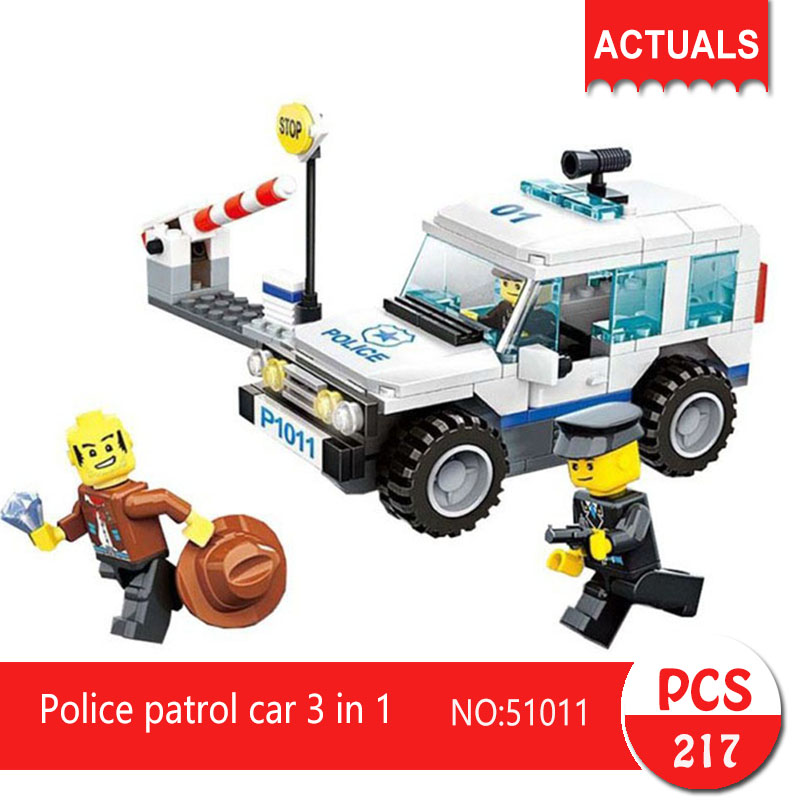 51011 217Pcs City series Police patrol car 3 in 1 Model Building Blocks  Bricks Toys For Children Gift models toys for children boy gifts city series police car motorcycle building blocks policeman compatible with legoeinglys 26014