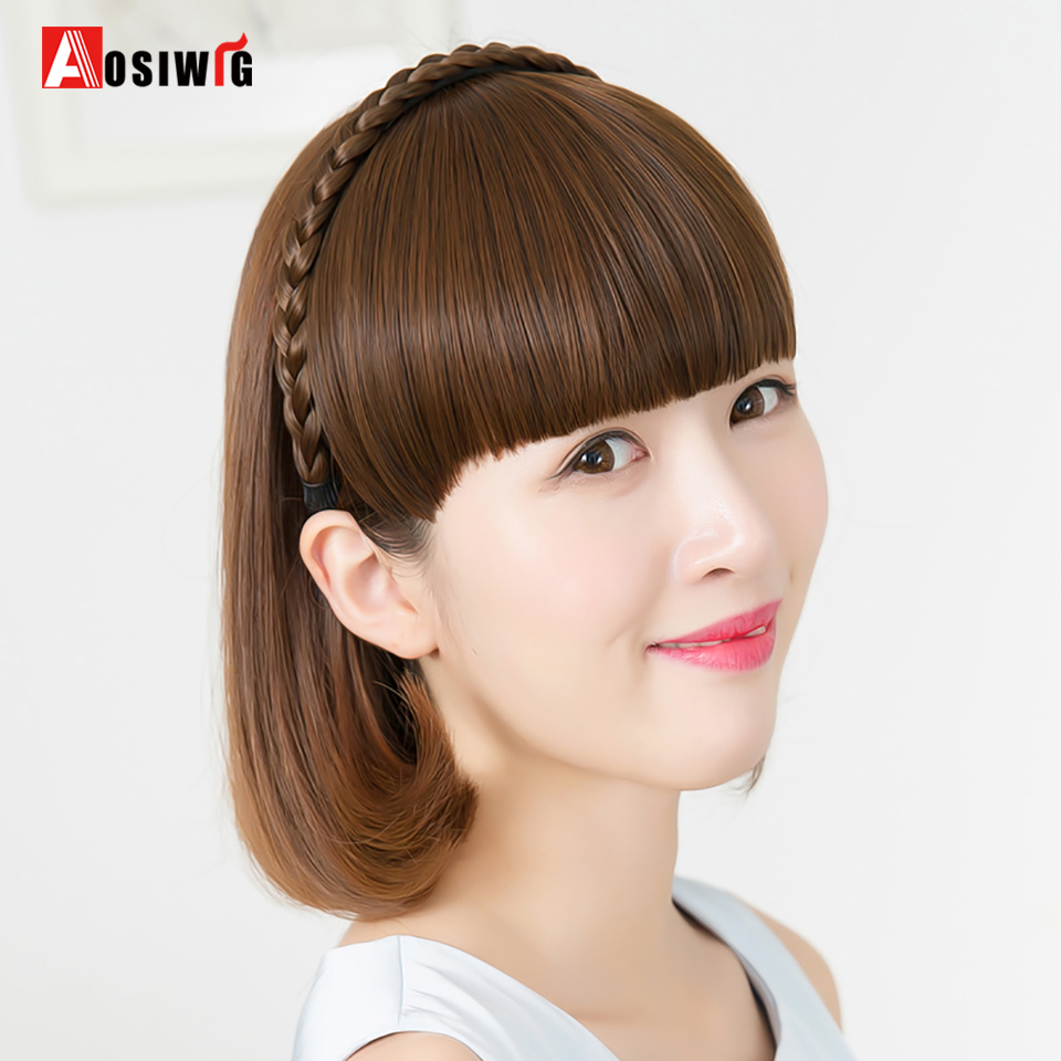 AOSIWIG Natural Synthetic Straight Blunt Bangs with Braided Hairband High Temperature Fi ...