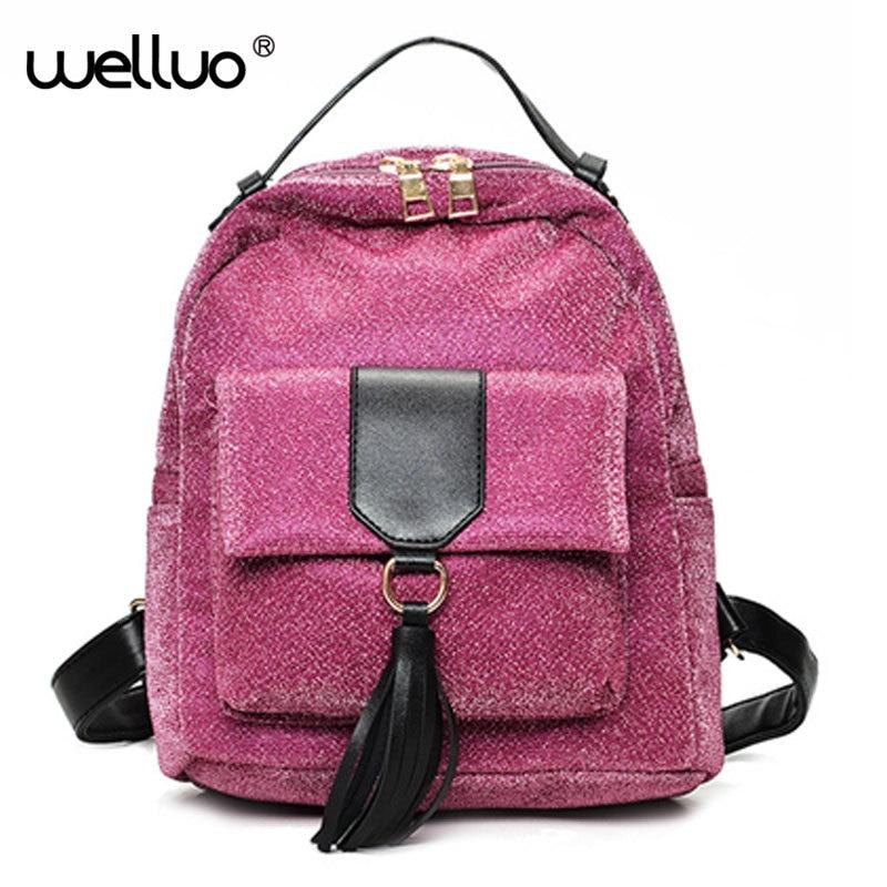 2017 Women s Sequins Pu Leather Backpack tassale desgin backpacks mini women back Bag fashion small