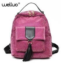 2017 Для женщин Блёстки Кожа PU Рюкзак tassale дизайн рюкзаки мини женщины обратно мешок небольшой рюкзак для подростков XA606B