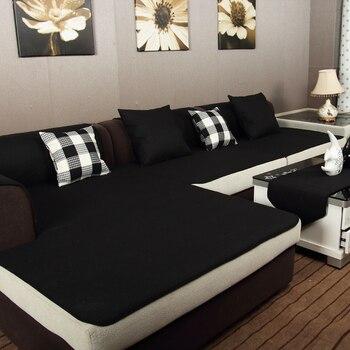 Four seasons solid color black linen sofa cushion cover fabric fashion sofa cloth towel cushion slip-resistant Туалет