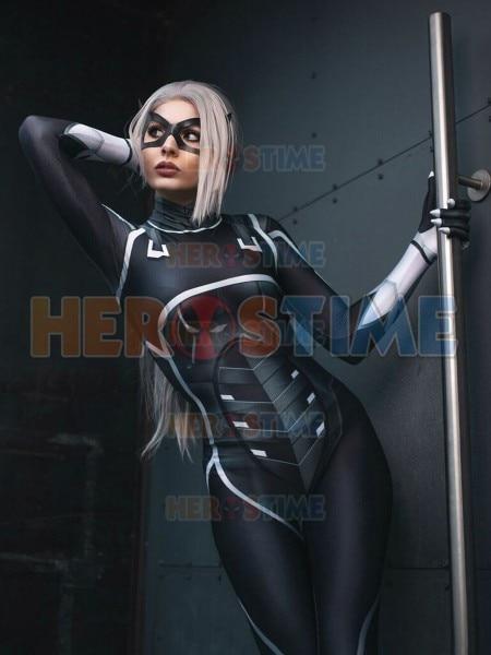 1922149dcd7 Black Cat Suit Spiderman Cosplay Costume The Heist Black Black Cat Costume  3D Print Superhero Cosplay Costume Zentai Bodysuit