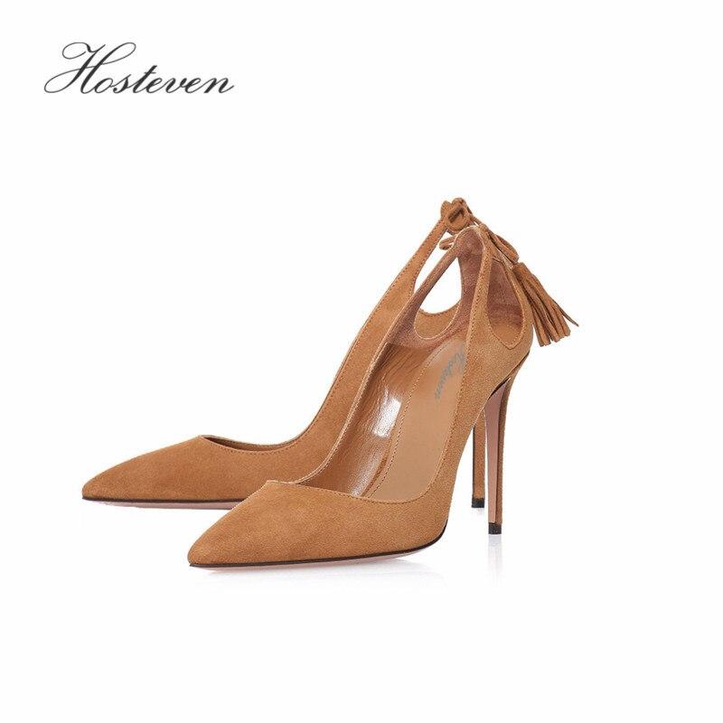 Hosteven Новая женская обувь сезон  весна–лето насосы туфли на высоком  каблуке тонкий коричневый туфли на высоком каблуке 710010b95671e