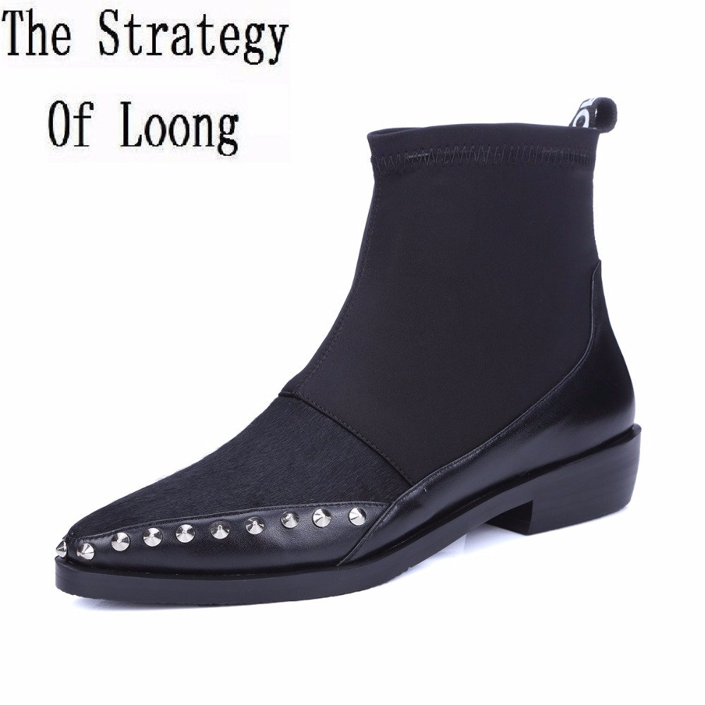 Women Genuine Leather Pointed Toe Rivets Flat Ankle Boots Spring Autumn Fashion Casual Zip Lady Boots 20170214 odetina fashion women pointed toe rivets loafers 2017 spring