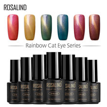 ROSALIND Gel 1S Neon Rainbow 3D Cat Eyes Magnetic Nail Gel polish fast dry semi permanent For Nail Art design Hybrid varnishes(China)