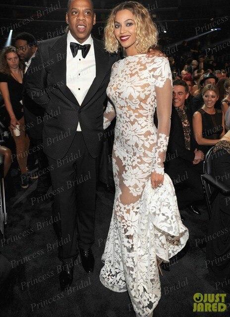 Fotos reais Da Sereia Backless Manga Longa Verdadeiro Tapete Vermelho Vestido Da Celebridade Beyonce Usa Sexy Sheer Vestido Branco No Grammy MF315