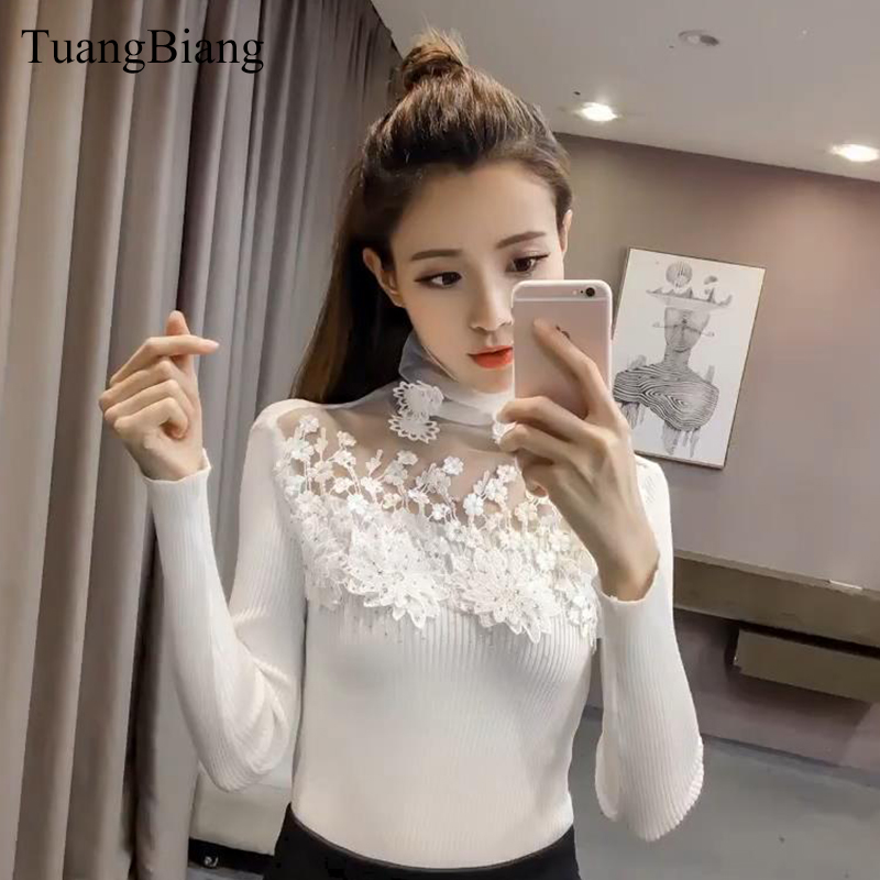 2019 New Lace Turtleneck Patchwork Pullovers Sweaters Spring Hollow Out Diamond Long Sleeve Sweater Women Winter Pullover Jumper