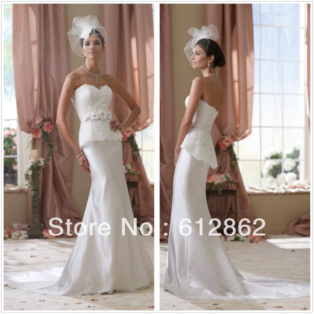 Cream Wedding Dresses: Strapless Sheath Long Tran Lace Appliques Bodice Satin