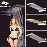 Uythner Polished Chrome Brass 22 Waterfall & Rainfall Shower Head Square Wall Mounted Sprayer