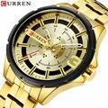 Золотые часы для мужчин Элитный бренд CURREN часы бизнес Модные кварцевые нержавеющая сталь Wristwaches водонепроница