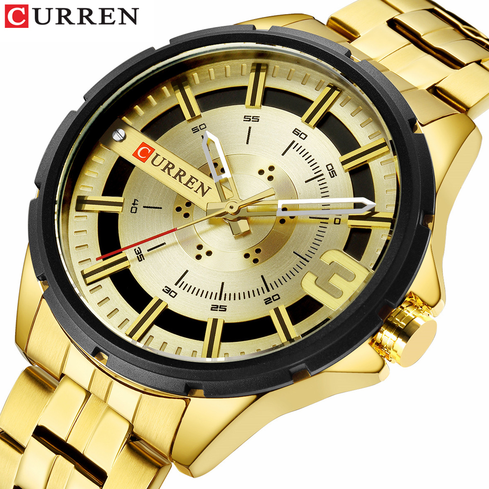 Gold Watches For Men Luxury Brand CURREN Watch Business Men's Clock Fashion Quartz Stainless Steel Wristwaches Waterproof