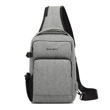 Bumbag Heuptas Hip Bag Chest Bags USB Charging Pack Tight Mens Satchel Gray for Ipad Work Leisure Travel Shoulder