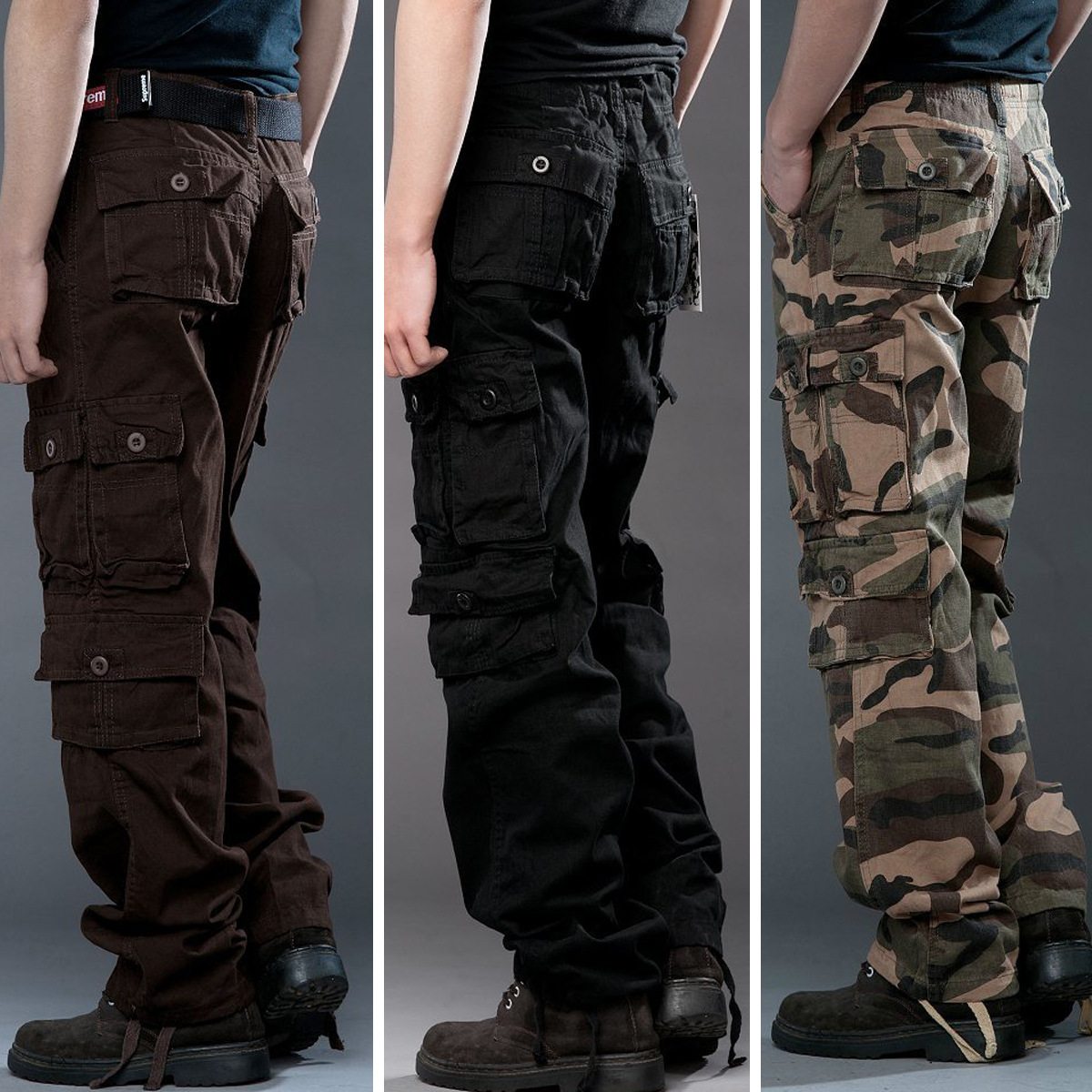Camouflage pants men's casual trousers overalls Korean fashion multi-bag tooling trousers