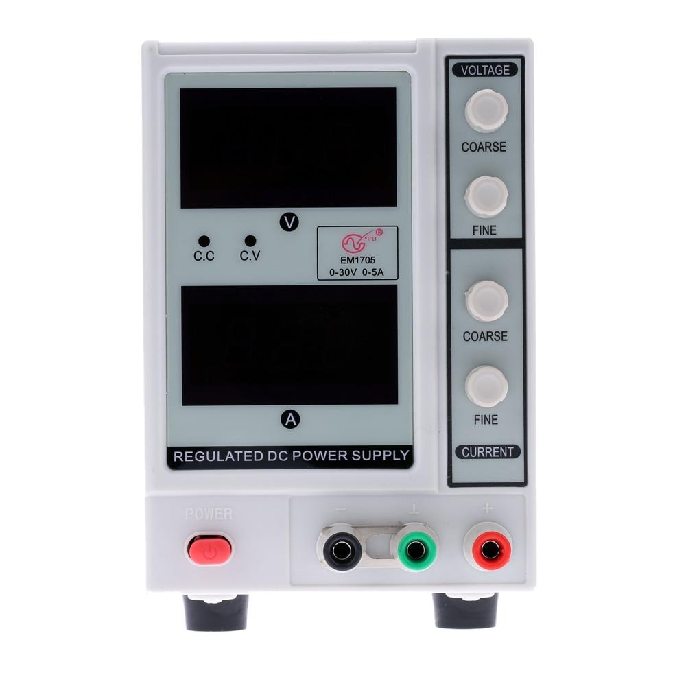 0-30V 0-5A 3 Digits Digital Regulated DC Power Supply laboratory power supply Adjustable voltage regulator EM1705 US Plug 50pcs xc6206p332mr 662k 3 3v 0 5a positive fixed ldo voltage regulator sot 23