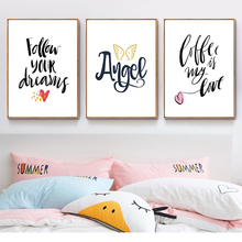 Follow Your Destiny Angel Inspirational English Phrase Girl Bedroom Poster Wall Art Canvas Painting Home Picture Decoration