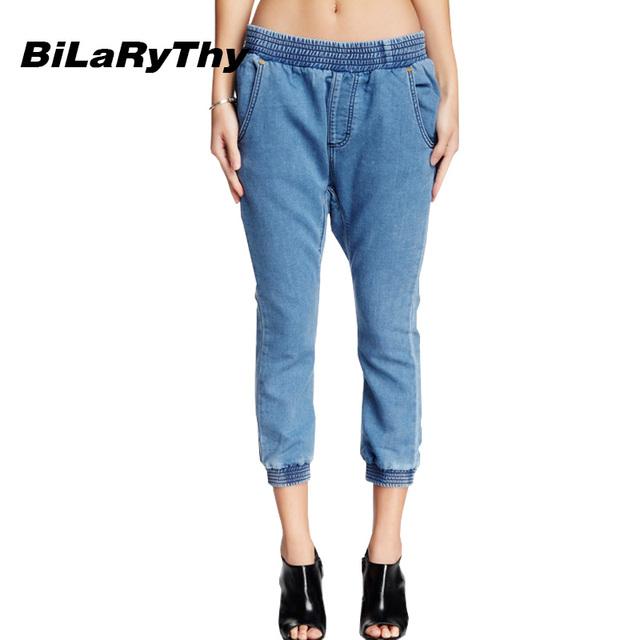 BiLaRyThy Moda Vintage Mujeres Cruzadas pantalones Elásticos Mediados de Cintura Corto Estilo Harem Pantalones Vaqueros Suaves Pantalones