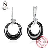 INALIS Angel Fine Jewelry Black White Ceramic 925 Sterling Silver Dangle Earrings Wedding Party Fashion Accessories