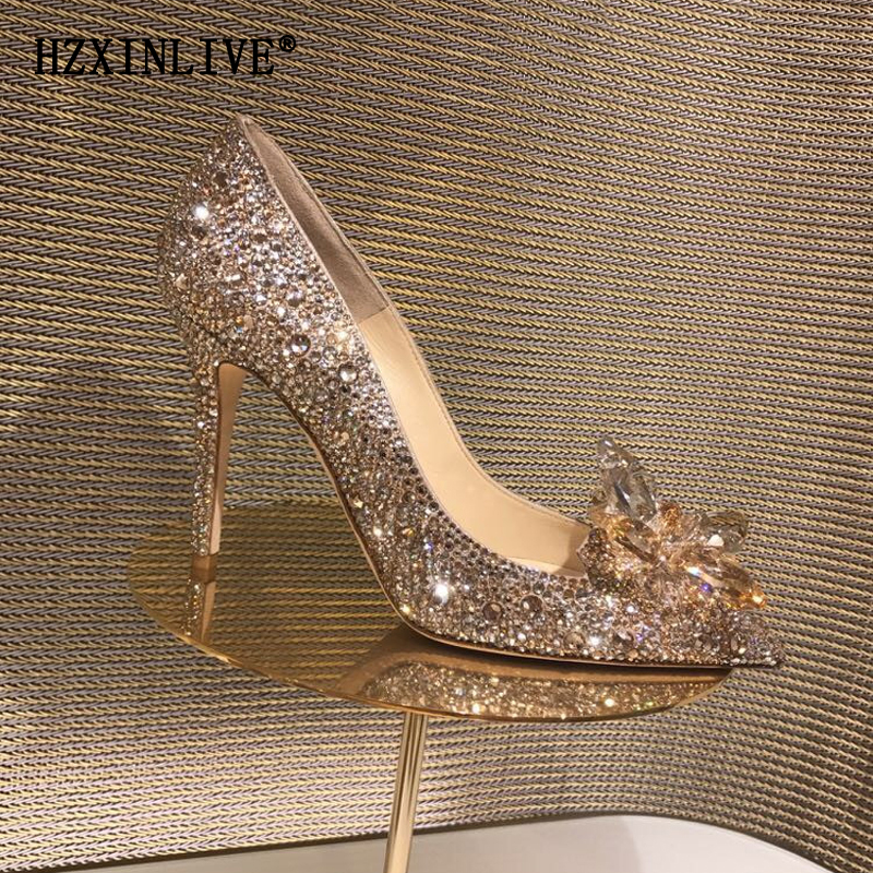 Rose Gold Crystal Covered Pointy Toe Women Pumps Luxury Designer