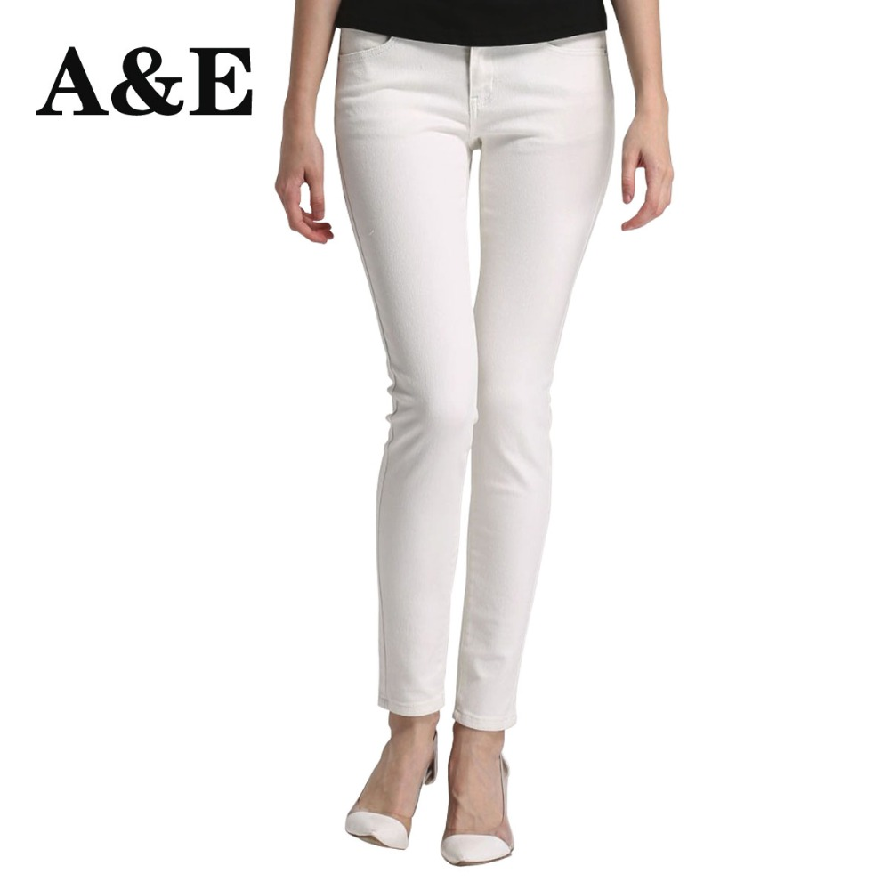 Alice & Elmer Skinny Jeans Kvinners Jeans For Girls Jeans Shortened Women Mid Waist Stretch Jeans Female Pants White