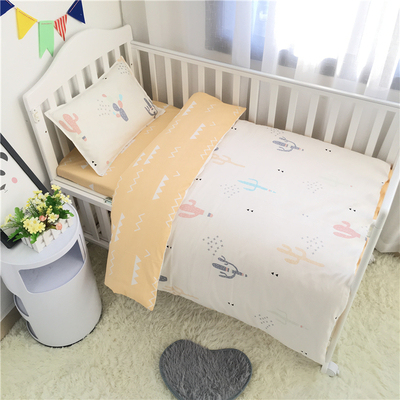 3PCS Newborn Baby Bed sheets Crib Quilt Cover infant Baby Cot Bedding 100% cotton,(Duvet Cover+Sheet+Pillowcase)