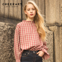 Cheerart 2018 Cotton Plaid Shirt Women Flare Sleeve Blouse British Style Ruffled Neck Casual European Top