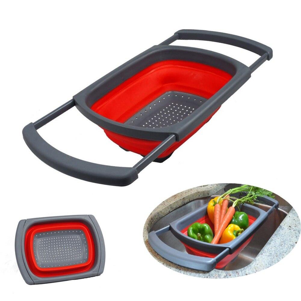 1pc Kitchen Collapsible Silicone Colander Strainer Sink Basket Cooking Water Drainager kitchen basket strainer gadget